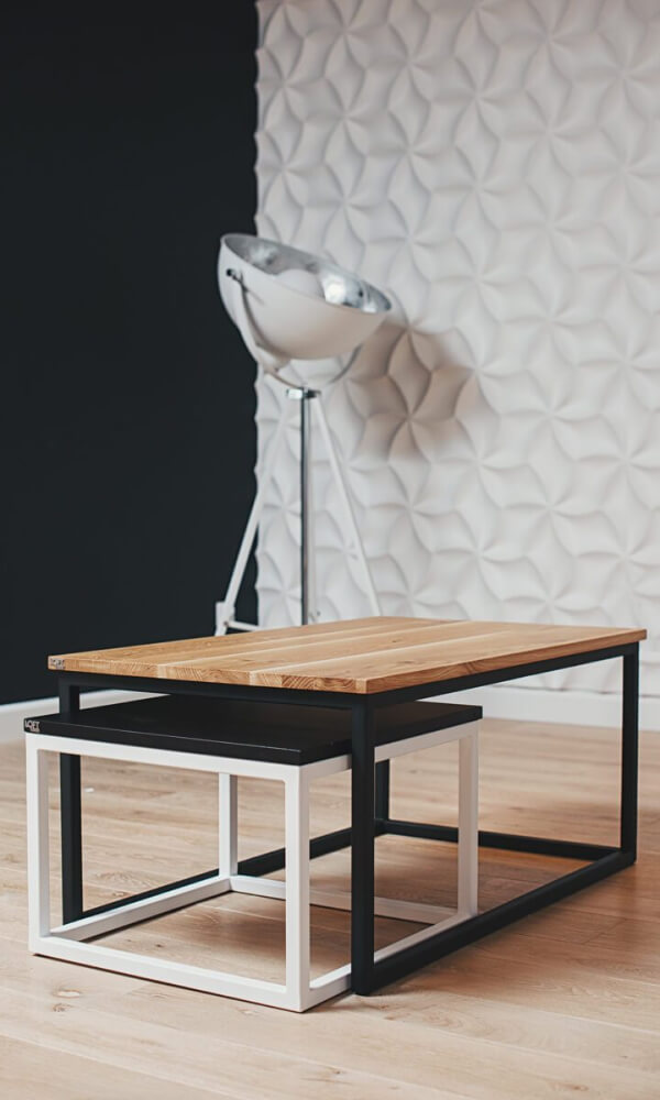 Zestaw industrialnych stolików kawowych